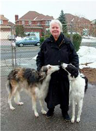 Margery Armstrong with her Borzoi dogs Leonie and Thriller.