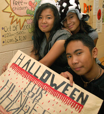Students and Halloween for Hunger Poster