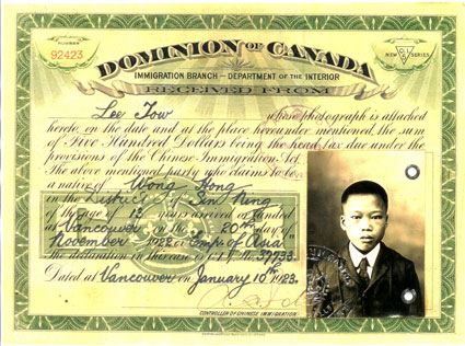 Chinese Head Tax Certificate