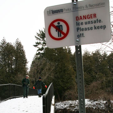 Signs warning<br /> about unstable ice