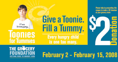 Give a Toonie. Fill A Tummy Advertisment