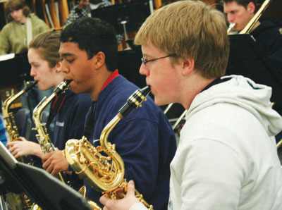 Andrew Beaudoin, right, rehearses for his performance in Jazzfest 2008. Beaudoin is one of 22 students from Woburn Collegiate Institute who participated in last Friday's concert.
