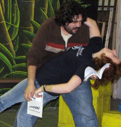 David Wicken (Ali Hakim) and Avra Fainer (Ado Annie) rehearse Oklahoma!, which runs at the Scarborough Village Theatre from April 24 to May 10.