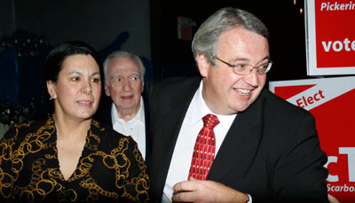 Dan McTeague and wife Daniela Rossi celebrate after another win in the Pickering Scarborough-East riding.