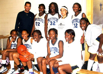 PJPII's senior girls basketball team. Back (L-R) Coach Steve Gazmin, Samantha Smith, Natasha Agyeman, Candice Reventar, Claudene Onguti, Neke Ibeh. Front (L-R) Latisha Bell, Shanice McKoy, Courtney Sinclair, Stephanie Boachie, Jenique Thombs. Absent: Kim Brown (player), and Connie Shimko (Manager).