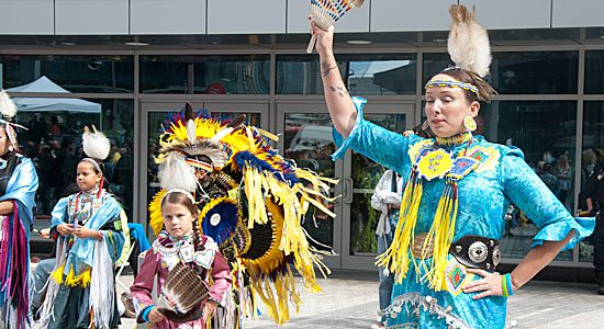 Native canadian dancers perform at the 2015 Pan Am Games logo launch party ...